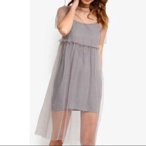 NEW Grey Mesh Overlay Dress